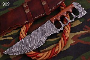 Custom Handmade HAND FORGED DAMASCUS STEEL Hunting TRACKER KNIFE FullTang+Sheath