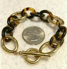 Ralph Lauren RLL Tortoise Oval Link Gold Plated Toggle Bracelet