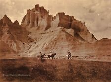 Vintage EDWARD CURTIS American Indian Men Sioux Horses GOLDTONE Photo Art 12x16