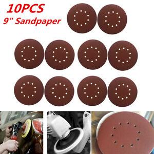 "10PCS 9"" 10 Hole 80 Grit Sanding Discs Sandpaper Polising Pad for Drywall Sander"