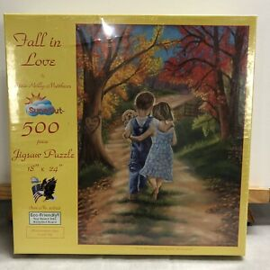 "JIGSAW PUZZLE 500 PIECE 18""x24"" FALL IN LOVE BY TRICIA REILLY-MATTHEWS NEW"