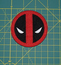 Deadpool Logo Patch Marvel Superhero Character Face Mask Iron-On Applique NEW