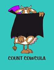 METAL REFRIGERATOR MAGNET Halloween Cow Dracula Count Cowcula Humor Funny