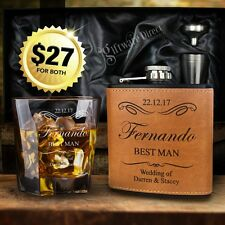 Ultimate Groomsman Gift Pack Wedding Glass & Hip Flask Personalised Engraved