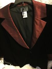 Alex Evenings Black Velvet Jacket, Red Metallic Collar Cuffs~Sz. Medium