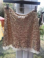Lovers Wonderland Designer GOLD  Sequin,lined, Zip Up  Short Skirt Size 10 NWT