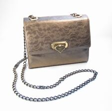 Escada Gold Python Snakeskin Lace Shoulder Crossbody Bag Purse Luxury Handbag