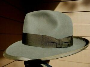 stetson whippet fedora size 7 fits to 7 1/8 caribou grey stars in logo 40s,50s