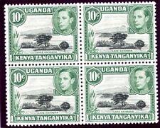 K.U.T. 1938 KGVI 10c block of four Mountain variety superb MNH. SG 135, 135a.