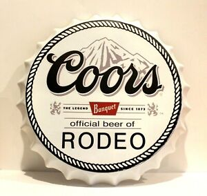 Giant Coors Banquet Beer Bottle Cap Tin Metal Sign Large Poster Bar Man Cave