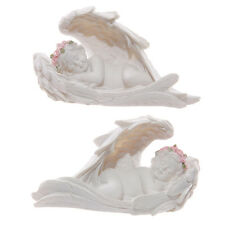 NEW PAIR OF 2 SLEEPING ANGEL CHERUBS WITH WINGS PINK ROSES CHE  91