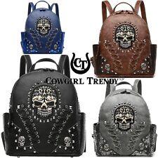 Sugar Skull Punk Backpack Women Fashion Daypack Biker Purse Bookbag Shoulder Bag