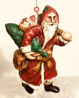 VNT Old World Mini Rustic Santa Claus Resin Ornament Figure Christmas Decoration