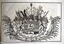 RARE GRAVURE héraldique ARMOIRIE ROYALE Prince von Brunswick - Wolfenbüttel 1720