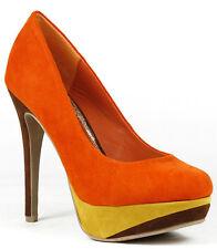 Orange Brown Mustard Yellow High Heel Round Toe Platform Pump 8 us Anne Michelle