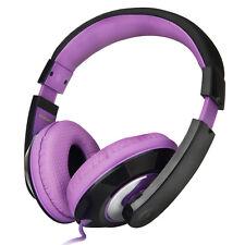 Adjustable Childs Kids Girls Headband Headphones Phones Notebook PC Purple Black