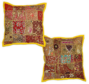 Handmade Cushion Cover 16'' Square Cushion Cover Indian Cotton Pillow Decor Boho
