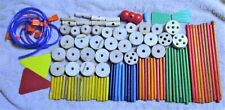100 Good Used Mostly Wood Wooden Tinker Toys Tinkertoys