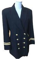 Extenzo Paris Vintage Damen Blazer Navy Uniform Jacke Marine Pilot Gr.40 FR 42