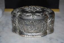 VINTAGE SILVER PLATE VICTORIAN ROMANTIC STYLE CANDY JEWELRY TABLE CABINET BOX