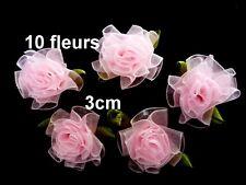 10 fleurs organza rose mariage scrapbooking 3cm