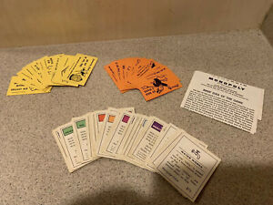 1960's Vintage Monopoly Game Pieces Titles, Chance Cards, Community Chest Cards