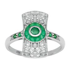 10k White Gold Antique Vintage Style Genuine Emerald and Diamond Ring