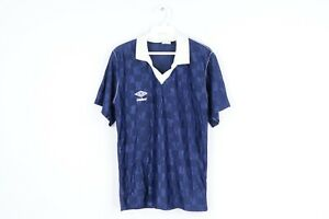 NOS Vintage 80s Umbro Mens Small Spell Out Checkered Collared Soccer Jersey Blue