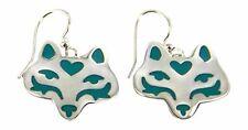 Far Fetched Wolf Dangle Earrings Blue Enamel Silver Plated Dog Earrings Gift Box