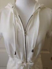 White House Black Market Cotton Knit White Zip Hoodie Top/Capri Set - Size Xs