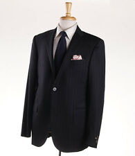 NWT $1975 CORNELIANI 'Academy' Black-Gray Stripe Wool Suit Slim 42 L (Eu 52L)