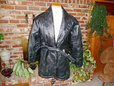 Navarre Genuine Leather Italian Stone Jacket Coat Black Size S Patchwork