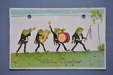 R&L Postcard: German Comic, Frog Marching Brass band, HWB Germany