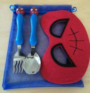 NEW Steel Spiderman Kids Cutlery Set & Superhero Eye Mask Gift - Baby Toddler UK