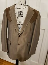Vintage Brown Retro Poly Circle S Western Suit 44L 36x33 - One Handsome Cowboy!