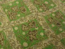 Vintage flour/seed sack fabric-green on white leaves