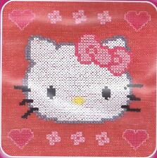 Kitty With Hearts Hello Kitty Custo Cross Stitch Kit By DMC Using Waste Canvas