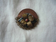 flower pin brooch Vintage copper and brass