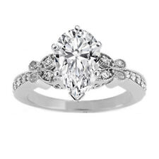 Pear Shape Diamond Vintage Butterfly Engagement Ring  White Gold  GIA Flawless