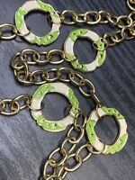 """Ladies green white enamelled Retro  Long Sweater Length Necklace 34"""""""