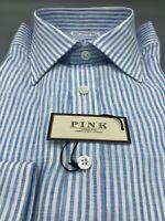 Thomas Pink Blue Stripe LINEN Shirt, UK:15.5, EU:39.5,  RRP: £165! BNWT