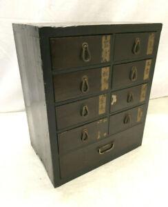 Antique Wooden Japanese Medicine Box Drawers Cabinet Circa 1900s #1181