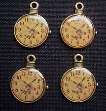 4 Pocket Watch Charms Vintage Style Bronze Tone Metal 30mm