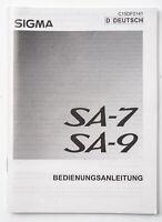 Bedienungsanleitung Sigma SA-7 SA 7 SA-9 SA 9 Anleitung