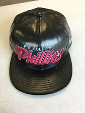 NEW ERA PHILADELPHIA PHILLIES RETRO BLACK LEATHER LOOK SNAPBACK ADJUSTABLE HAT