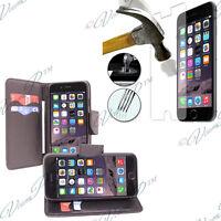 Etui Housse Portefeuille PU Effet Tissue Apple iPhone 6S + Films Verre Trempe