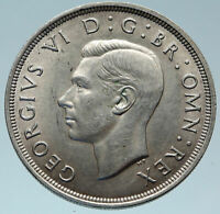 1937 Great Britain United Kingdom w UK GEORGE VI Large Silver Crown Coin i82929