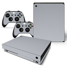 Silver Carbon - Xbox One X Sticker Set Protective Skin Console & Controllers
