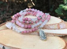 Mala Kette 108 Perlen Rhodonit Rosenquarz Ganesha Lotus Gebetskette