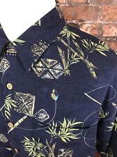 ORVIS Men's Dark Blue Outdoor Fishing Camping Short Sleeve 100% Silk Shirt